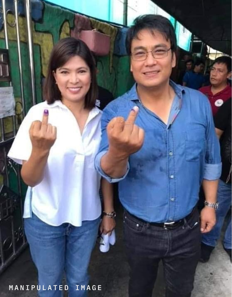 A doctored photo of Philippine Senatorial candidate Bong Revilla and his wife, Lani Mercado-Revilla, casting a vote in Bacoor City, Cavite.