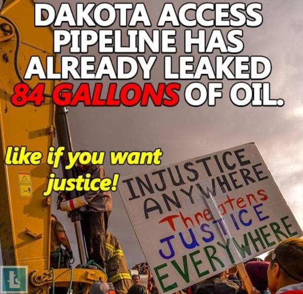 "An example meme deployed by the Internet Research Agency in an attempt to influence U.S. energy markets and policy. It reads: ""Dakota Access Pipeline has already leaked 84 gallons of oil. Like if you want justice!"""